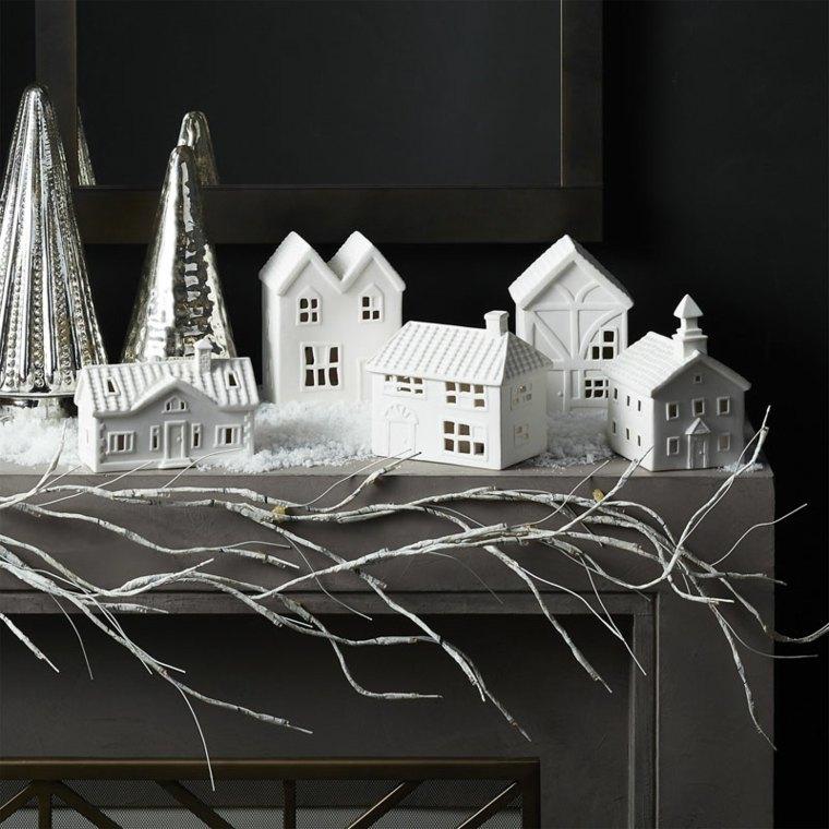 addobbi natale villaggio miniatura colore bianco