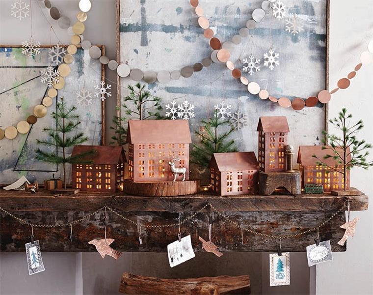 addobbi natalizi color rame stile rustico