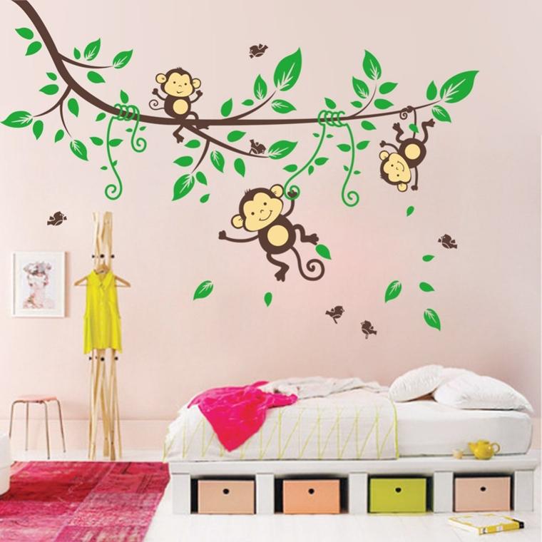 adesivi murali motivi floreali scimmie