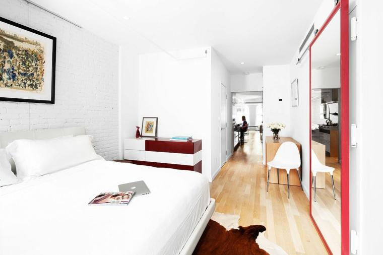 armadio muro specchio letto decorazione quadro comodino pavimento parquet