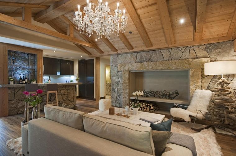Rivestimenti in pietra in soggiorno moderno - idee di design e stile
