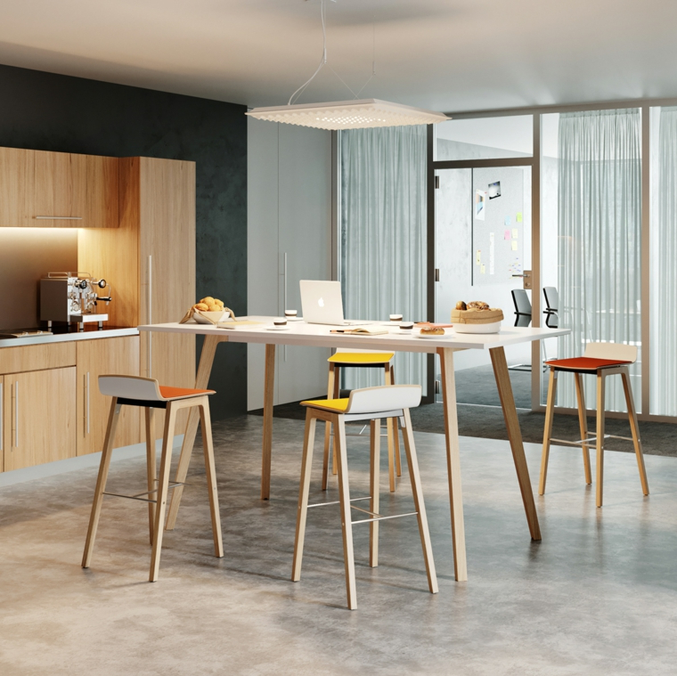 Tavolo da pranzo alto, cucina con mobili di legno, soluzioni per dividere soggiorno e cucina