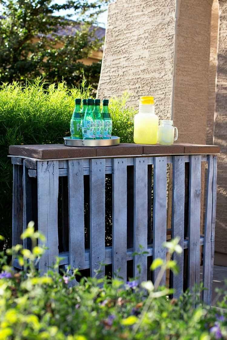 Arredo giardino con angolo bar fai da te in bancali riciclati for Bancone con angolo