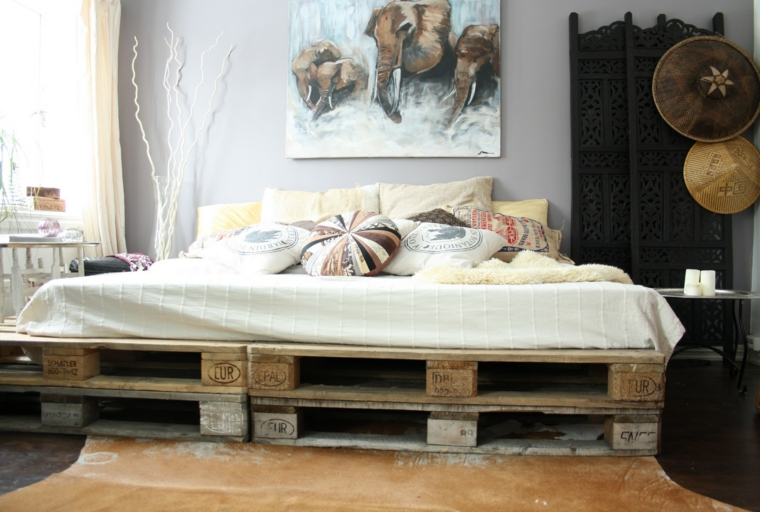 arredo pallet camera letto moderna