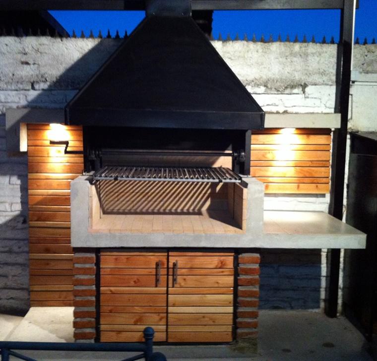 barbecue in muratura idea inserti legno