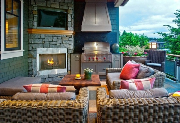 barbecue moderno integrato muro arredamento veranda