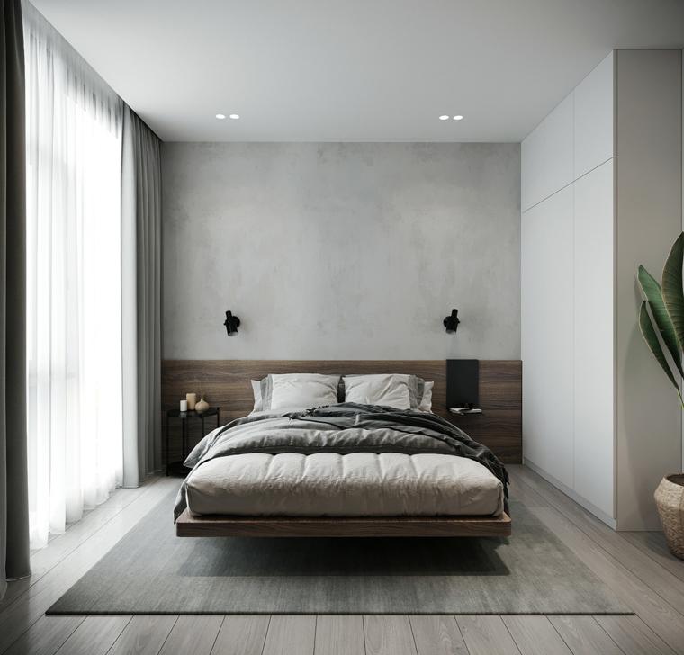 camera da letto 12 mq come arredare testata legno lampade tappeto vaso pianta
