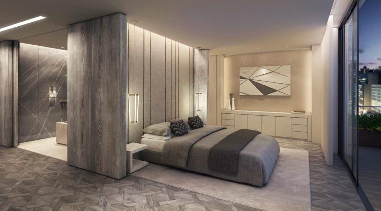 Stanza da letto moderna con parete di design speciale dietro il letto - Camera da letto con carta da parati ...