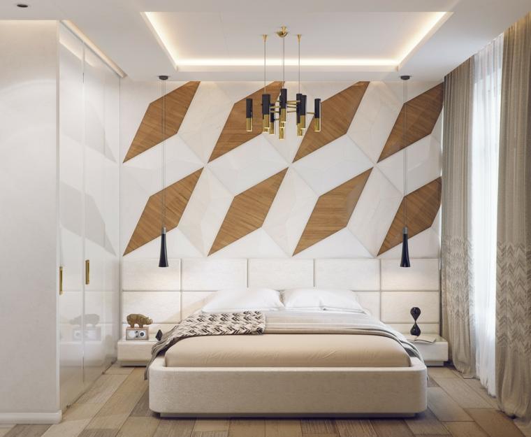 Stanza da letto moderna con parete di design speciale dietro il letto for Pareti camera da letto moderna