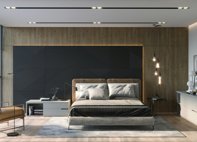 camera da letto moderna piccola pannelli legno pareti faretti como sedia tappeto