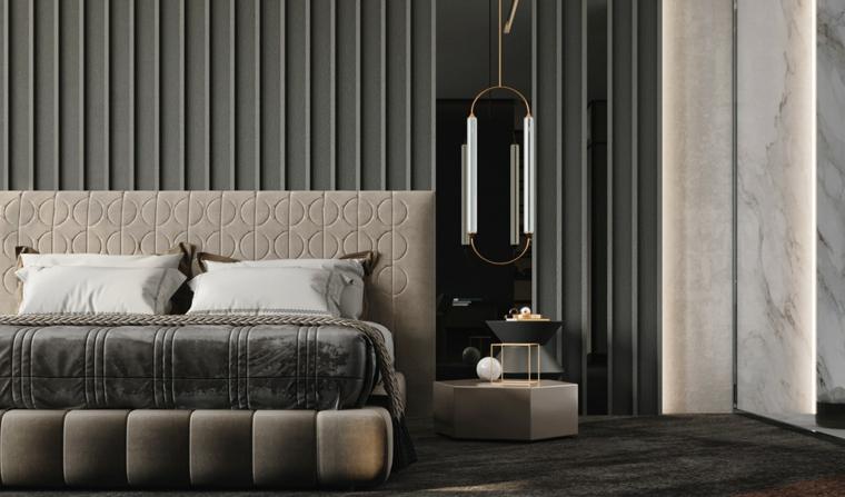 camera da letto moderna piccola testata pannello parete lampada como
