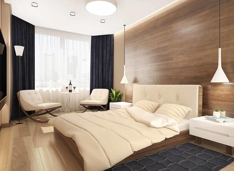 camera da letto piccola parete principale legno