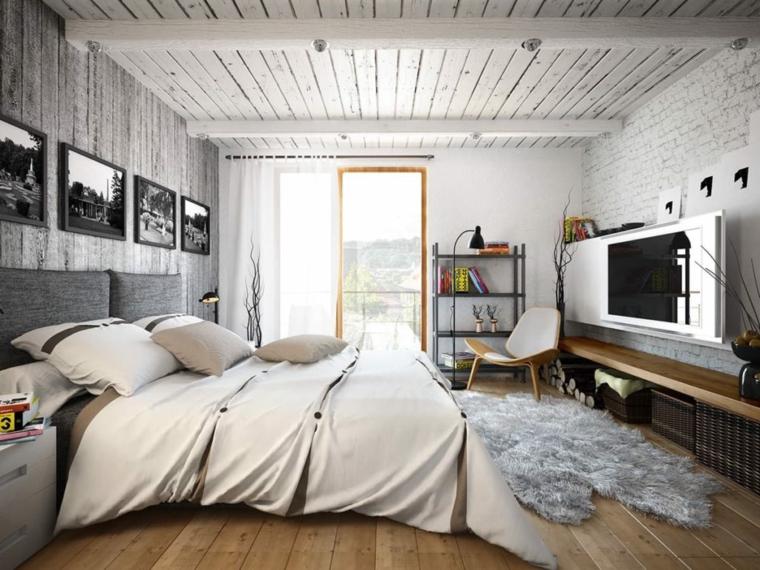 camera da letto piccola soffitto legno faretti panchina cornici foto quadri