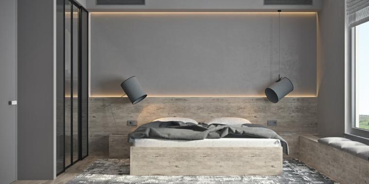 Stanza da letto moderna con parete di design speciale - Parete nera camera da letto ...