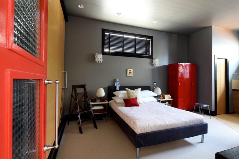 camera letto pareti colore grigio