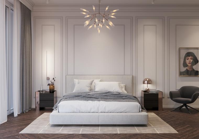 camera matrimoniale moderna letto testata comodini poltrona tappeto