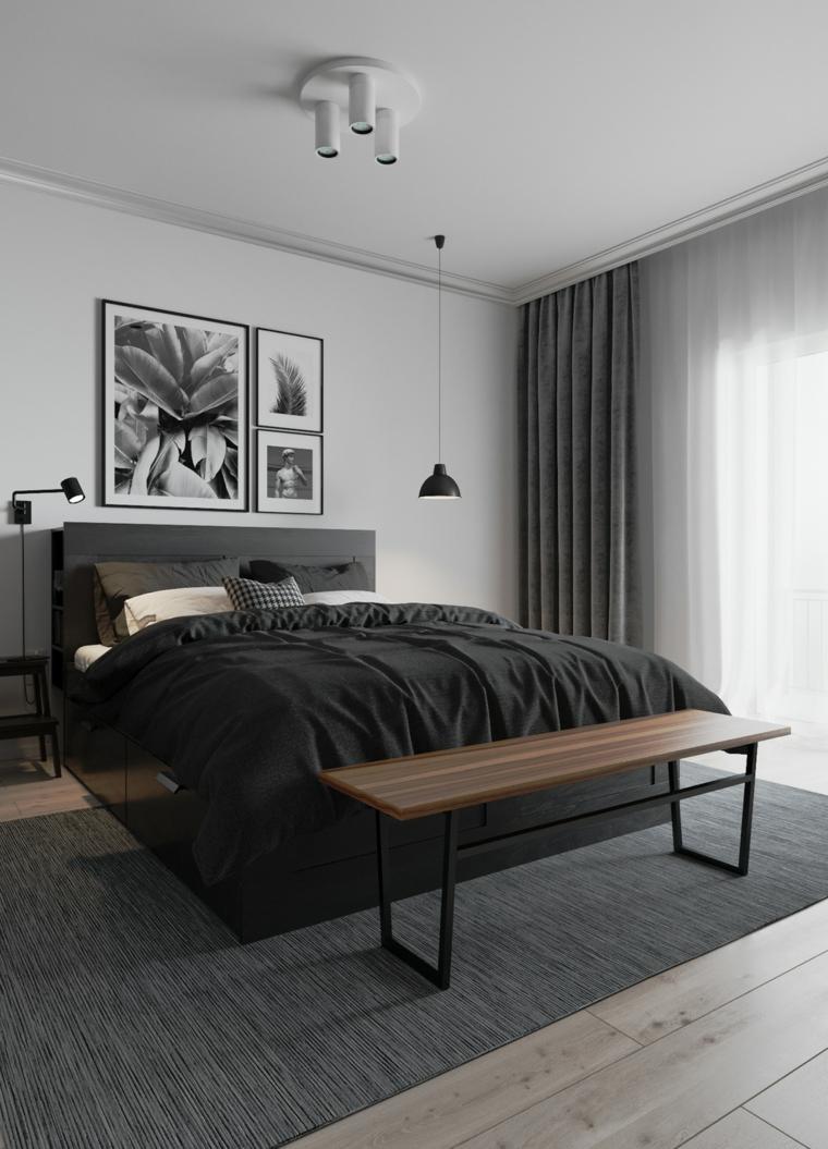 camera matrimoniale piccola letto testata panchina legno cornici faretti finestra tende