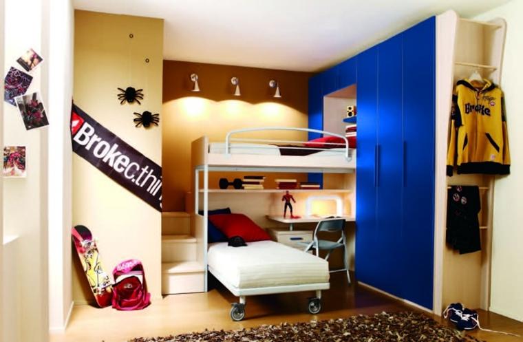 camera per ragazzi armadio battente colore blu