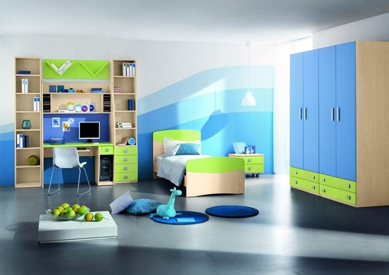 cameretta bambini colori parete tonalita blu diverse
