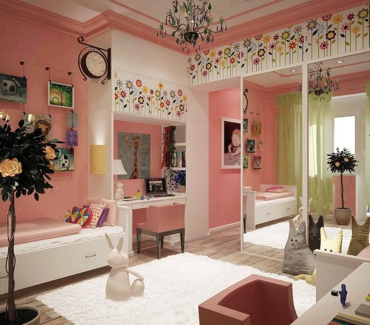 cameretta bambini decorazioni floreali specchi