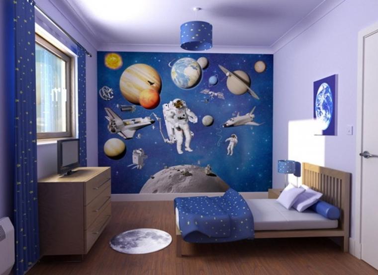 cameretta bambini murales mobili legno