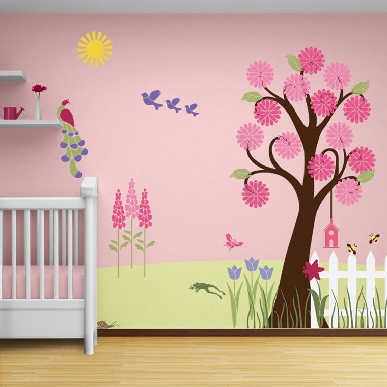 cameretta bambini murales realizzati stencil carta