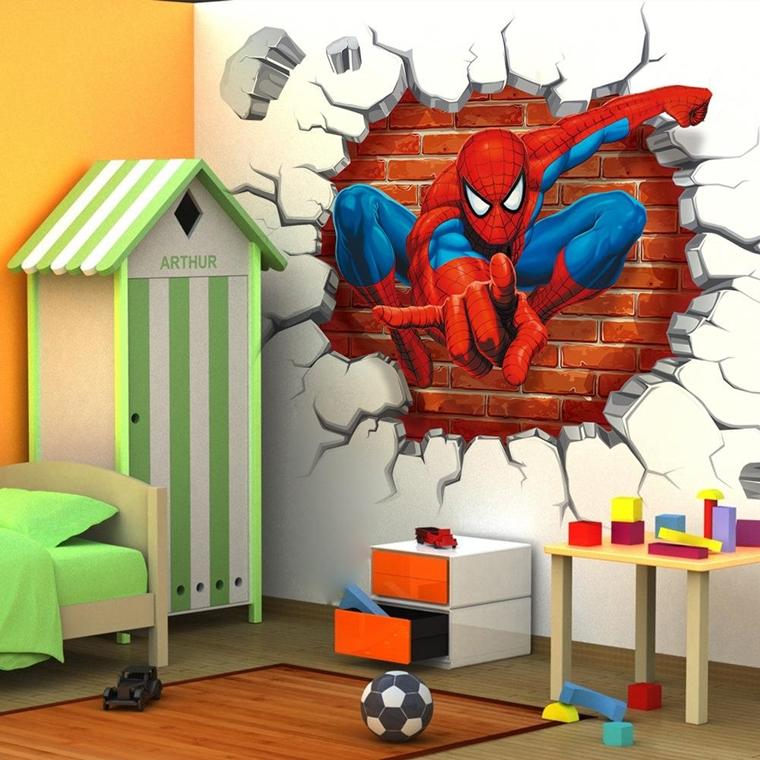 cameretta bambini murales uomo ragno