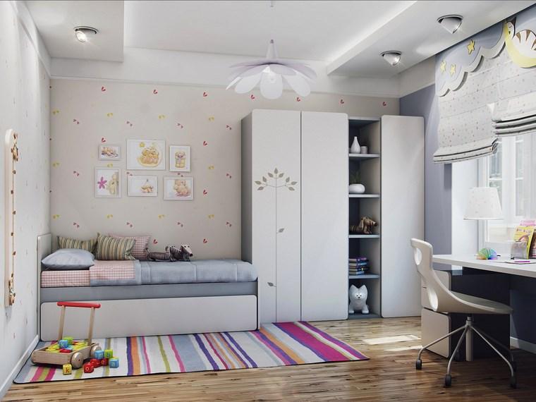 cameretta bambini quadri parete tappeto righe