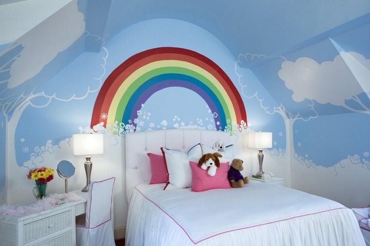 camerette bambini arcobaleno dipinto letto