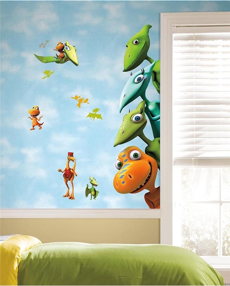 camerette bambini murales dinosauri divertenti