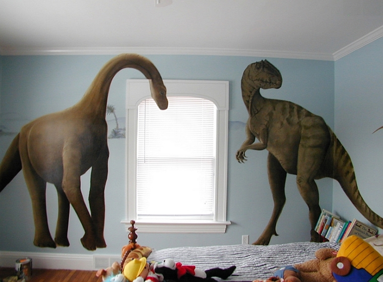 camerette bambini murales forma dinosauri