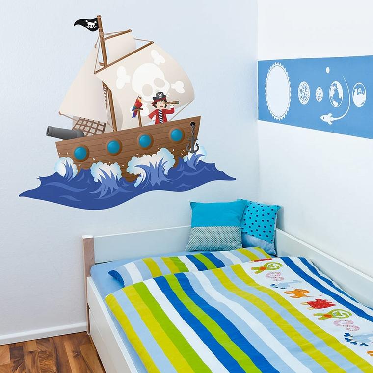 camerette bambini nave pirata adesivi