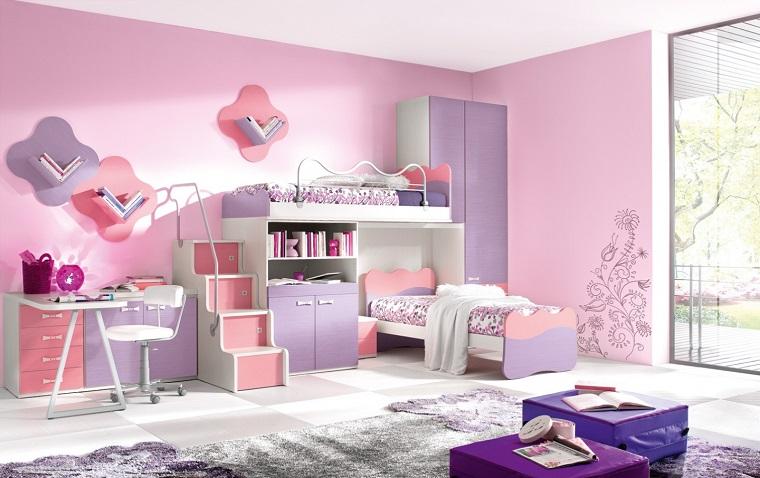 camerette per ragazze rosa viola letti castello