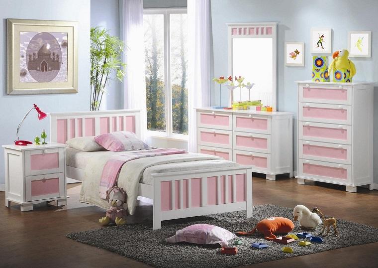 camerette ragazze arredamento rosa bianco