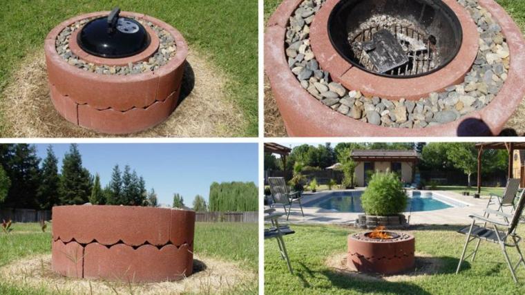 Barbecue rotondo con sassi decorativi, giardino con barbecue a legna