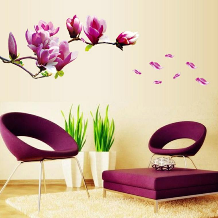 carata da parati motivi floreali soggiorno moderno