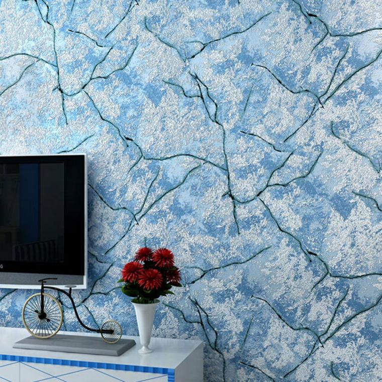 Carta da parati per arredare le pareti in soggiorno for Carta parati blu