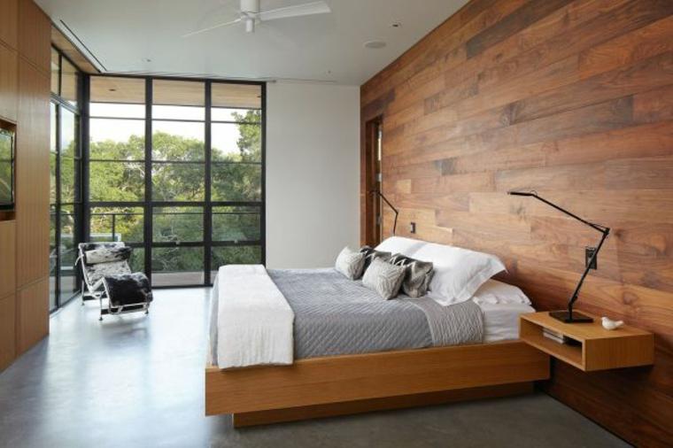 carta parati effetto legno letto camera letto