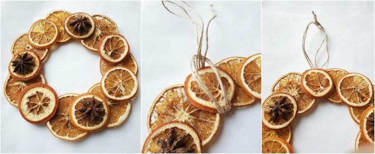 casa con addobbi natalizi esterni festone con fette di arancia ghirlanda con agrumi secchi