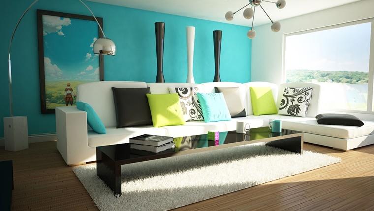 colori pareti azzurro combinazione divano bianco