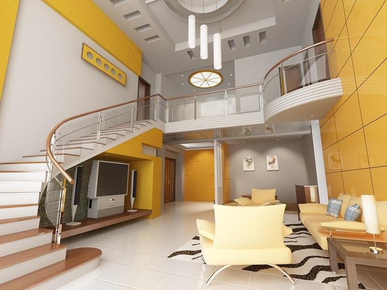 colori pareti giallo appartamento stile moderno