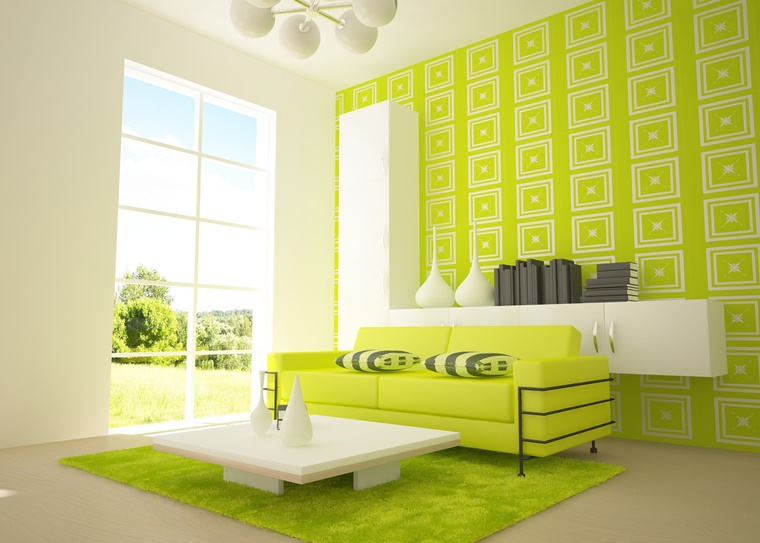 colori pareti tocco vivace verde soggiorno