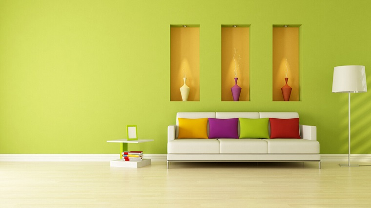 colori pareti verde nicchie decorative