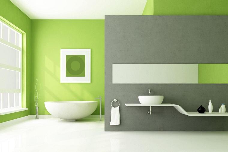 colori per pareti bagno verde grigio