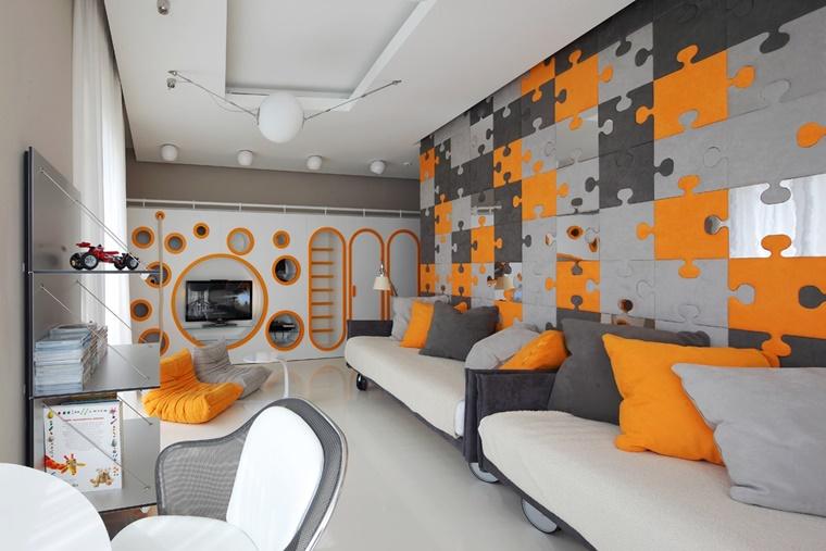 colori per pareti idea muro cameretta pitturato puzzle