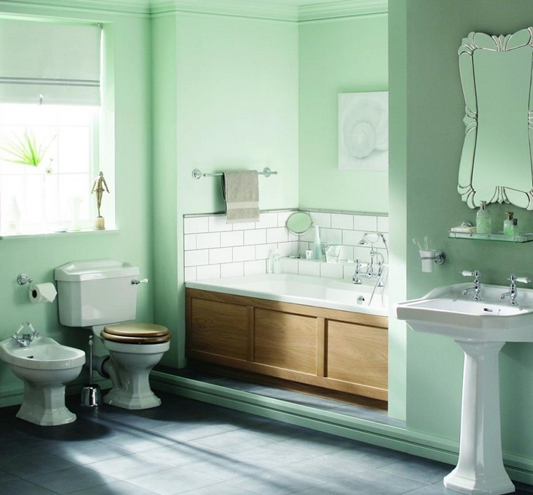 Colori per pareti idee per ogni ambiente della casa - Piastrelle bagno verde chiaro ...