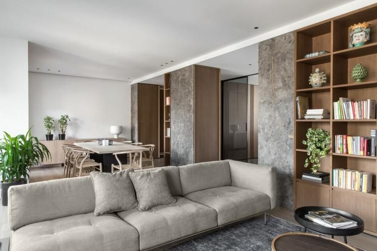 Divano di colore grigio, set tavolo da pranzo, arredare salotto e sala da pranzo insieme, libreria con decorazioni