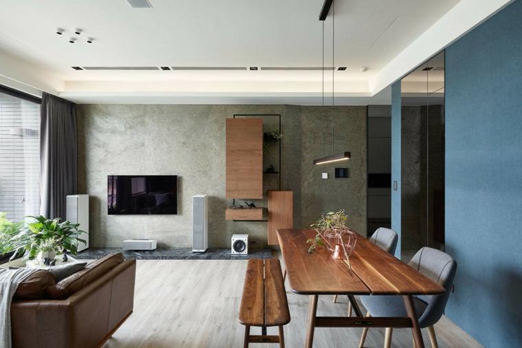 Set tavolo e panchina di legno, soggiorno e sala insieme, open space con mobili di legno