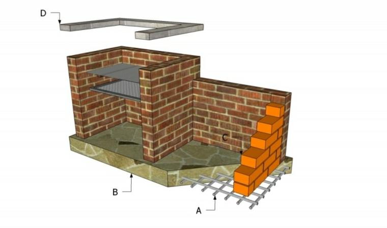 Disegno di un modello di barbecue con griglia, disegno per il montaggio