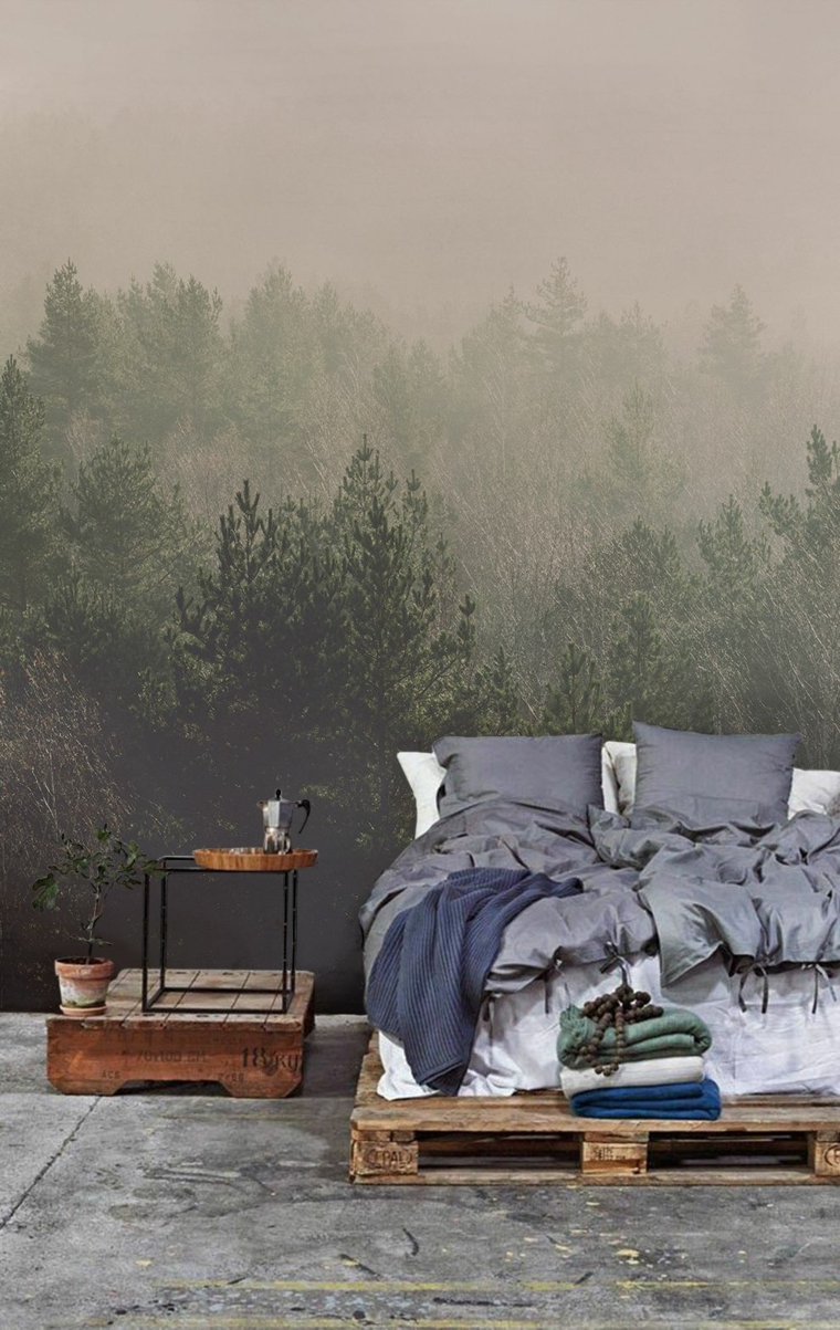 come mettere i cuscini sul letto parete dipinta foresta pallet comodino